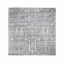 8and039x8and039 Cypress Tree Design Silk With Textured Wool Hand Knotted Square Rug G48943