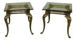 F48664ec/65ec Pair Vintage Solid Brass Queen Anne End Tables W. Beveled Glass
