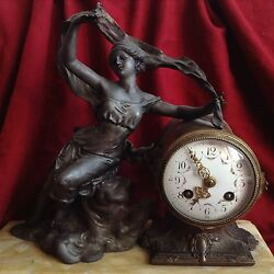 Antique French Art Nouveau Bronze Marble Watch Clock Nude Lady By Geo Maxim Gold