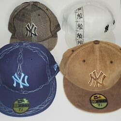 New Era 59fifty New York Yankees Mlb Lot Of 4 Hats New With Sticker Tags.