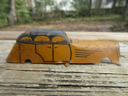Antique Lindstrom Tin Toy Windup Car Body Only Art Deco 1920's 4 Yellow