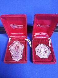 Waterford Crystal 1984 Christmas Lamp And 1988 5 Golden Rings Ornament Lot Of 2