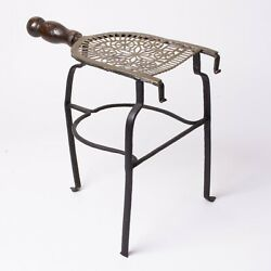 Antique Wrought Iron Fireplace Trivet Stand Brass With Wood Handle 12 Tall