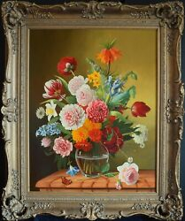 QUALITY CLASSICAL DECORATIVE FLOWER OIL PAINTING ROSES TULIPS ANTIQUE STYLE