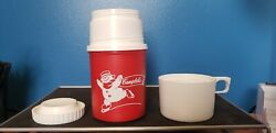 Vintage Campbelland039s Soup Alladinware Thermos Red With Ice Skating Snowmen