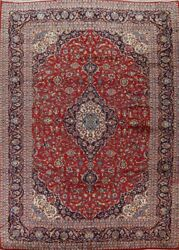 Traditional Floral Semi-antique Area Rug Wool Hand-knotted Oriental Carpet 10x13
