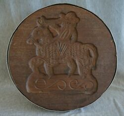 Wooden Hand Carved Cheese Press / Mold - Horse And Rider - Large And Heavy