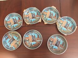 7 Vintgage New York City Souvenirs Twin Towers Coasters Ashtrays Chinatown