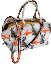 PRADA RARE Bunny Arrows Inside Leather Designer Satchel Bag Handbag Crossbody