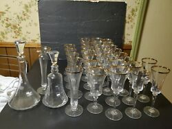 32 Gorgeous Mikasa Jamestown Gold Crystal Decanter Water Goblets Wine Vase Glass