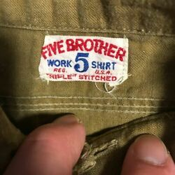 Vintage 1930and039s Five Brother Half Button Shirt Long Sleeve Rare