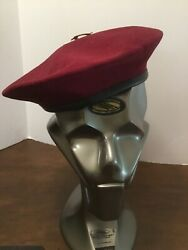 100 Pure Wool Top Beret England Maroon Size 7 With Thai Scout Pin