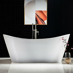 WOODBRIDGE 71quot; Acrylic Freestanding Soaking Tub with overflow amp; drain B N B0017
