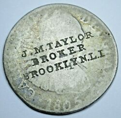 1805 Spanish 2 Reales Counterstamp J.m Taylor Broker Old Countermark Trade Coin