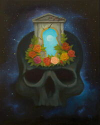 Skull And Roses Original Handmade Oil Painting Gothic Flower Surrealism 16 X 20