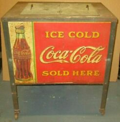 Early Vintage Coca Cola Cooler On Legs W/ Lithographic Tin Panels And Original