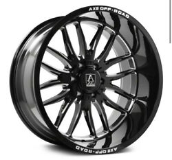 4 New 22x12 Axe Off Road Hades Black Milled Wheels Chevy 6x5.5 Ford 6x135