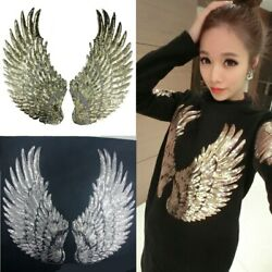 1 Pair Angel Wings Sequin Iron Sew Embroidery Patch Applique Sewing Clothes