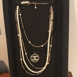 Runway 2018 Pearl And Black Resin Cc Multistrand Necklace Large Cc Pendant