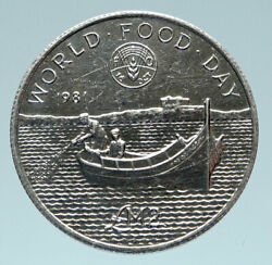 1981 Malta Fao World Food Day Fishing Boat Genuine Silver 2 Pounds Coin I83129