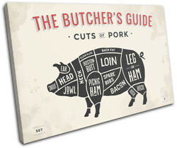 Meat Pork Butcher Pig Cuts Food Kitchen Single Canvas Wall Art Picture Print