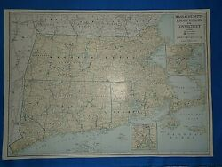 Vintage 1947 State And County Map Massachusetts Ct Ri Old Original Folio Size