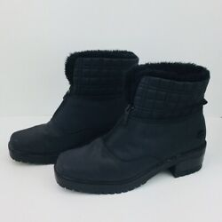 Totes Boots Womens Size 11 Black Waterproof Rain Snow Quilted Faux Fur Rugged $36.00