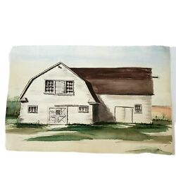 Country Barn Original Watercolor Painting Signed Arthur G. Jake Farmhouse