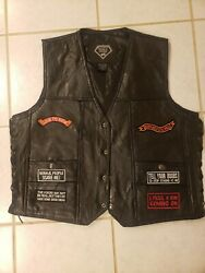Black Leather Concealed Carry Biker motorcycle Vest with 16 Patches