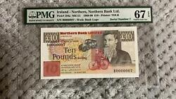 10 Pounds Ireland Northern Gem Unc Pmg 67 Pick 194a Low Serial Number 7 Top Pop