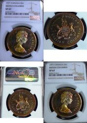 1971 Canada Silver Dollar 1 Ngc Sp 67 -one Of The Best Colours -real Pictures