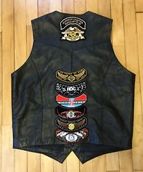 Genuine Leather Vest With Harley Davidson Patches Mens Large