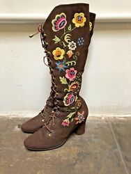Jerry Edouard Boots Vintage 60s 70s Brown Gold Floral Beaded Gogo Penny Lane