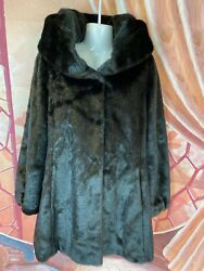 Gorgeous Brown Jones New York Faux Mink Fur with Hood Soft Shiny Women's Size L