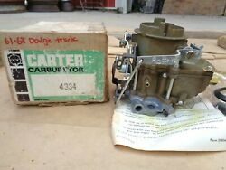 Nos 1961 1968 Dodge Truck Carter Carburetor 4334s Original