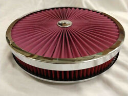 14 X 2 Round Chrome Red Washable Air Cleaner Flow Thru Filter Top Drop Base