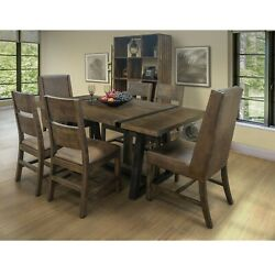Crafters And Weavers Maxwell Rustic Industrial 78 Dining Table Set W/ 6 Chairs