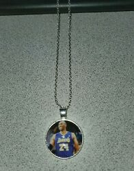 Kobe Bryant Lakers 24 Unisex Silver Pendant Necklace Adult /kid New Organza Bag
