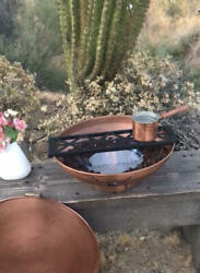 Fire Bowl W/ Iron Grill Solid Copper Indoor/outdoor Clears The Air