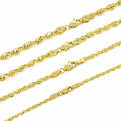 14k Yellow Gold 1.5mm-4mm Italian Rope Chain Pendant Necklace Mens Women 16-30