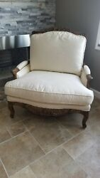 Vintage Plush Xtra-wide Sofachair W/ Ornate Carved Wood Trim And Base Legs