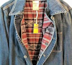 New W/tag Fossil 54 Mens Jean Jacket Removable Flannel Lining Us Size Large