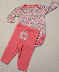Baby Clothes 💐 CORAL FLORAL OUTFIT FLOWERS & for OOAK REBORN BABY DOLL * 0-3 M