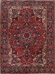 Heriz Geometric Wool Area Rug Hand-knotted Collectible Oriental Carpet 9x12 Red