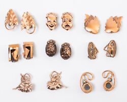 Lot Of 8 Vintage Copper Earring Sets Mid-century Modern Theater Dance Abstract