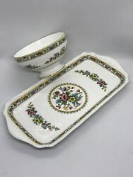Retired Coalport China Scalloping Ming Rose Sugar Bowl And Large Sandwich Tray