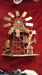 Beautiful Vintage Handmade Copper Country Spinning Windmill Farm Music Box