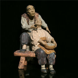 Collect Folk Chinese Ceramics Porcelain People Spouse Old Couple Ornament Statue