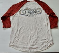 Evintage 80s Indian Motorcycle 50/50 Poly/cotton Lm Semi Long Sleeve T-shirt