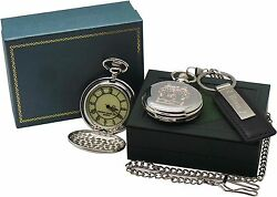 Coat Of Arms Pocket Watch Custom Engraved And Keyring Family Crest Luxury Case